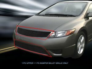 Black Billet Grille Grill Combo Insert For Honda Civic Coupe 2006 2007 2008