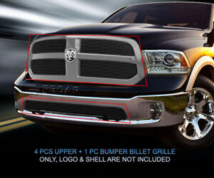 Black Billet Grille Grill Combo Insert For 2013 2017 Dodge Ram 1500