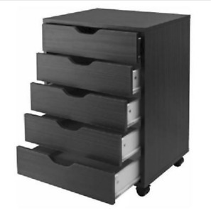 5 Drawer Rolling File Cabinet Wood Office Holder Document Storage Organizer New
