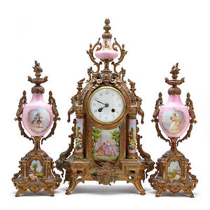 Elegant Antique French Bronze Painted And Porcelain Mantel Clock Garniture Set