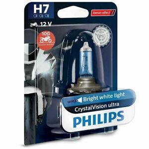 Philips H7 Crystalvision 12v Replacement Upgrade Motorbike Bulb Single