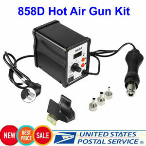 858d Hot Air Gun Kit Rework Station Smd Iron Soldering Solder Holder Voltage 110