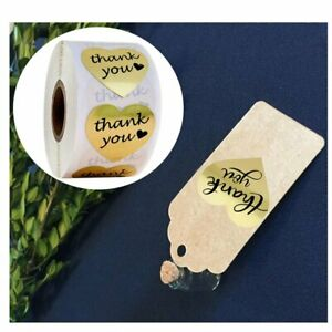 500pcs 1 5 Thank You Sticker Self Sealing For Gift Box Gold Foil Shipping Label