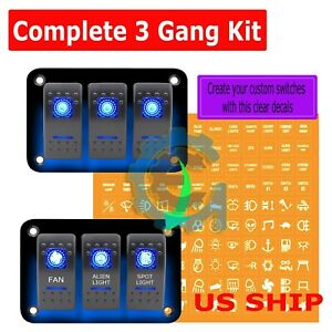 3 Gang Waterproof Usb Toggle Automotive Switch Panel Decal Led Car Marine Boat
