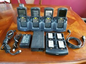 Lot Of 4 Motorola Mc3090 Barcode Scanner W Dock Station Batteries And Charger