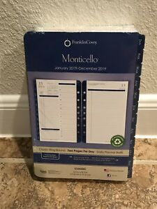 Franklin Covey 2019 Planner Refill 2 Page Per Day Daily Size 4 Monticello Blue