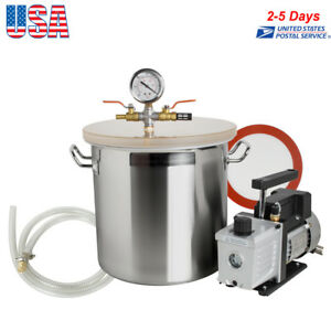 5 Gallon Vacuum Degassing Chamber Silicone Kit W 3 Cfm Pump Hose High Efficiency