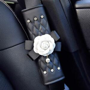 Camellia Leather Car Seat Belt Cover Adjust Pad Strap Interior Safety Cushion