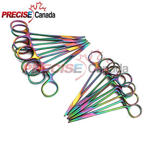 10 Mosquito Hemostat Locking Forceps 5 Curved 5 Straight Rainbow Multi Color