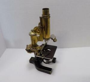 Bausch Lomb 57161 Vintage Brass 180mm Microscope With Wooden Case Extras