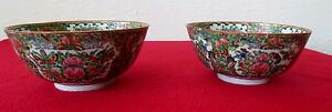 Pair Of 19th C Antiques Hand Painted Enameled Chinese Rose Medallion Bowls