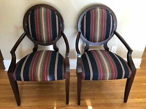Ethan Allen Lindsay Wood Upholstered Dining Room Arm Chairs Pair