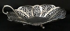 Vintage International Silver Silverplated Three Toed Candy Dish Lovelace Pattern