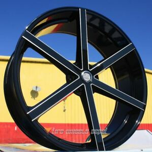 28 Inch U233 Black Milled Wheels And Tires All 6 Lug Suburban 6x5 5 6x139 7