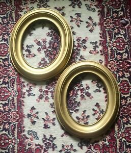 Antique Vintage Matched Pair Wooden Gold Gesso Oval Picture Frames