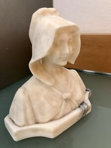 Antique Marble And Alabaster Bust Of A Lady 19th Century