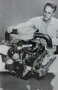 12 X 18 Black White Picture About 1960 Chevrolet Corvair Engine Display