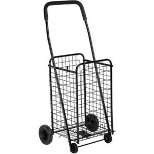 Steel Folding 4 wheel Utility Rolling Cart Black