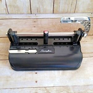 Swingline 3 Hole Punch Model 350 400 Chrome Lever Handle Heavy Duty Works Great