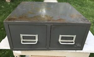 Vtg Cole Steel Two Drawer Index Card Stackable Metal File Cabinet Storage Gray