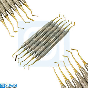 Set Of 6 Dental Composite Filling Instrument Golden Titanium Light Weight Tools