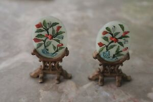 2 Chinese Miniatures Stone Wood Table Screen
