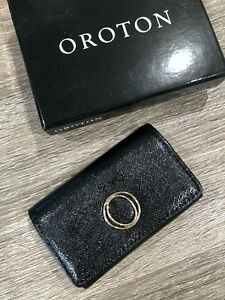Oroton Melanie Pebble Black Leather Wallet Business Card Holder Nwt