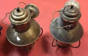 2 Antique Brass Lantern Lamps 10x16 In Nautical Style