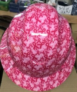 Hdpe Hydro Dipped Pink Full Brim Hard Hat With Fas trac Suspension Cancer Bow