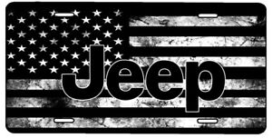 New Custom American Flag Tactical Black And White Jeep Vanity License Plate