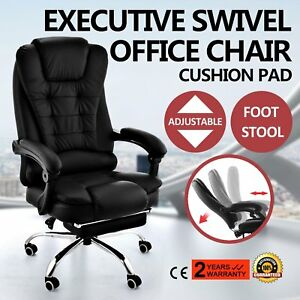 Executive Swivel Office Chair Ergonomic High Back Pu Leather Chair W footrest Ek