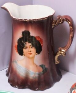 Z S Co Bavaria Large Antique Portrait Pitcher Zeh Scherzer