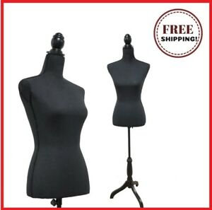 Black Female Mannequin Torso Dress Form Tripod Stand Display Pinnable Body Base