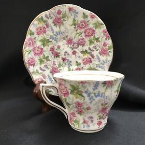 Rosina English Bone Chinatea Cup And Saucer Pink Floral Chintz Gold Trim