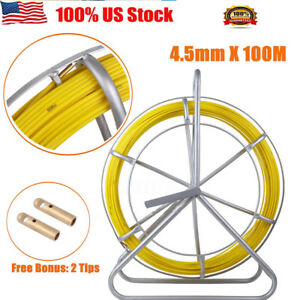 100m 4 5mm Fish Tape Frp Fiberglass Wire Cable Running Rod Duct Rodder Puller
