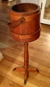 Antique Wood Firkin Sugar Bucket Pail Attached To A Wood Stand Excellent Stand