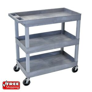 3 Tier 400 Lb Capacity Swivel Wheel Gray Plastic Tub Shelf Service Utility Cart