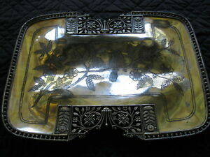 Very Ornate Antique Eastlake Victorian Meriden Silverplate Footed Tray 721 164