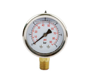 Liquid Filled Pressure Gauge 2 50 Mm Dia 0 90 Psi npt1 4 Lower Mount