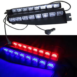 12 24v 48 Led Emergency Warning Visor Dash Flash Strobe Light Bar Amber Blue r