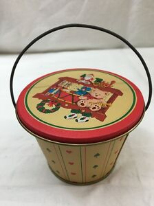 Vintage Christmas Tiny Empty Tin Metal Box Bucket W Lid