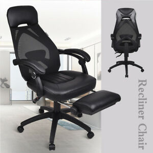Executive Mesh Back Office Chair Swivel Racing Style Computer Seat W footrest