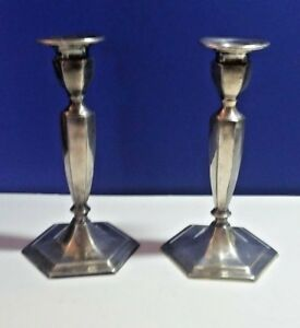2 Antique Silver Plated Forbes Sp Co 805 Taper Candlesticks Holders