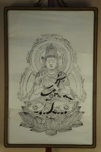 Antique Japanese Buddhist Deity Brush Drawing With Wood Frame 1900s