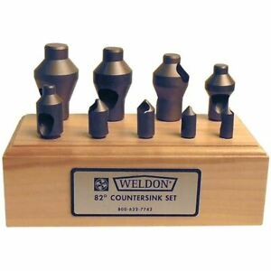 Weldon Ic 9pc Hss Zero Flute Countersink Deburring Tool Set 82 Degrees