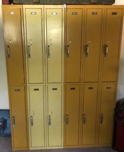 Set Of 12 Metal Double Stack Vintage Lockers Interior Steel Equipment Yellow Oh