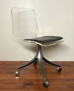 Rare Vintage Mid Century Modern Lucite Acrylic Swivel Office Desk Chair