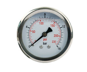 Pressure Gauge Liquid Filled 2 1 2 Face Dia 0 230 Psi npt1 4 Back Mount