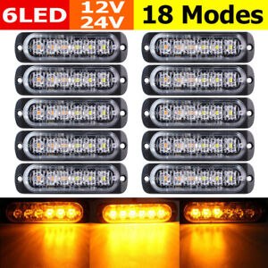 10x Amber Yellow 6led Emergency Hazard Warning Flash Strobe Light Beacon Caution