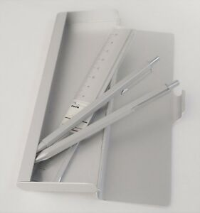 Muji Aluminum Ballpoint Pen mechanical Pencil pen Case ruler Set Stationary New